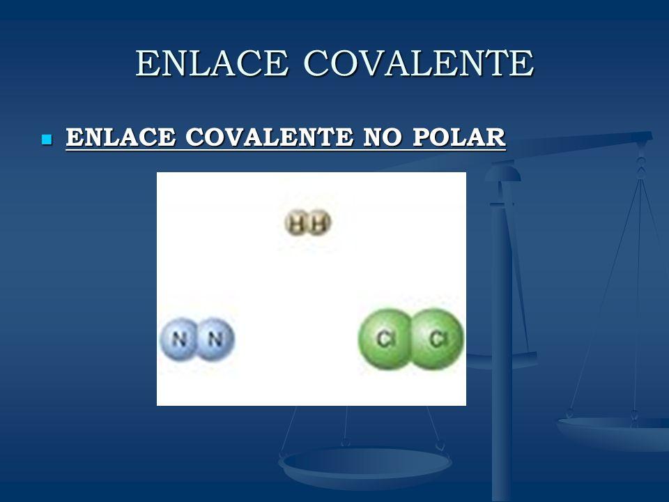 ENLACE COVALENTE ENLACE COVALENTE NO POLAR ENLACE COVALENTE NO POLAR