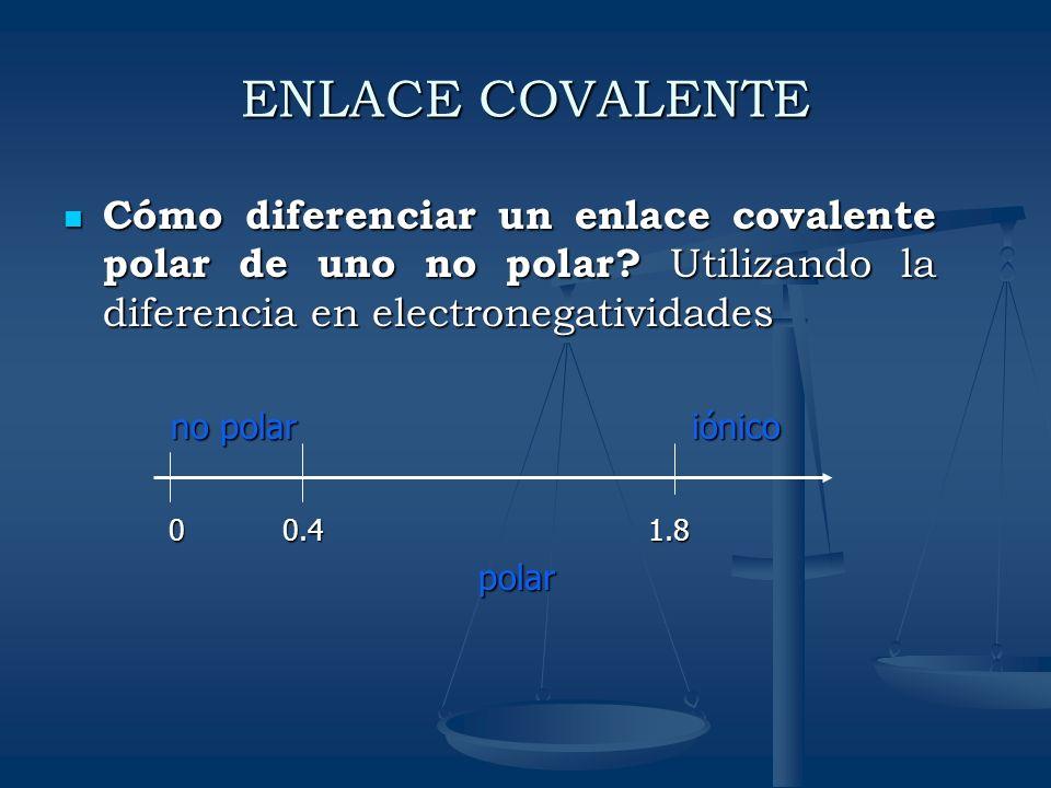 ENLACE COVALENTE Cómo diferenciar un enlace covalente polar de uno no polar? Utilizando la diferencia en electronegatividades Cómo diferenciar un enla