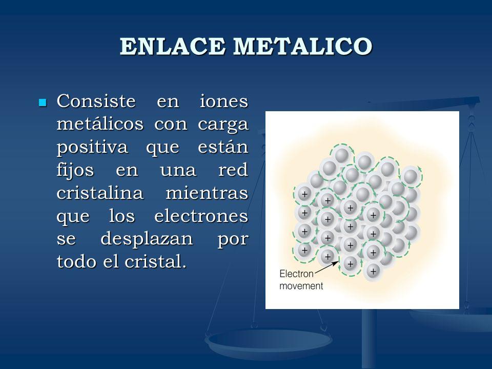ENLACE METALICO Consiste en iones metálicos con carga positiva que están fijos en una red cristalina mientras que los electrones se desplazan por todo
