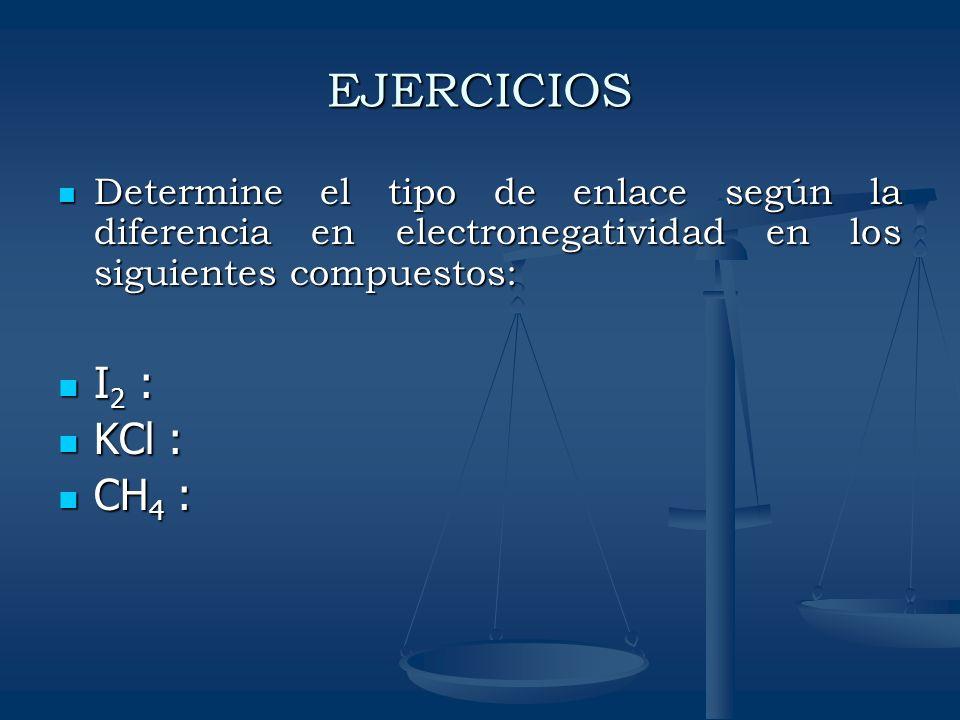 EJERCICIOS Determine el tipo de enlace según la diferencia en electronegatividad en los siguientes compuestos: Determine el tipo de enlace según la di