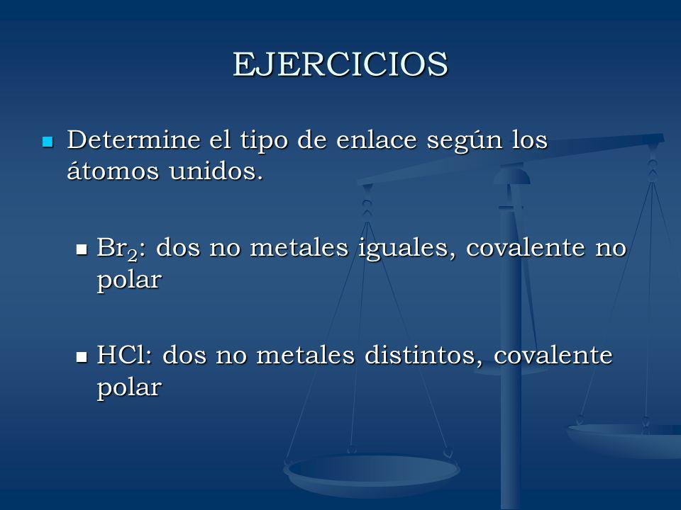EJERCICIOS Determine el tipo de enlace según los átomos unidos. Determine el tipo de enlace según los átomos unidos. Br 2 : dos no metales iguales, co