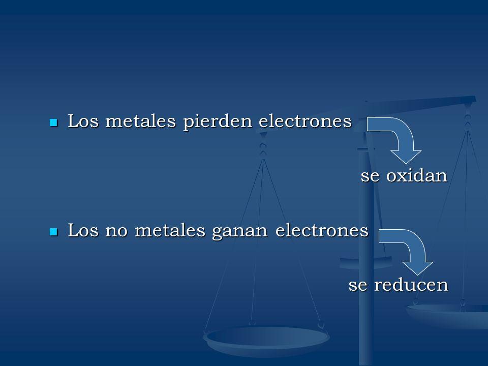 Los metales pierden electrones Los metales pierden electrones se oxidan se oxidan Los no metales ganan electrones Los no metales ganan electrones se r