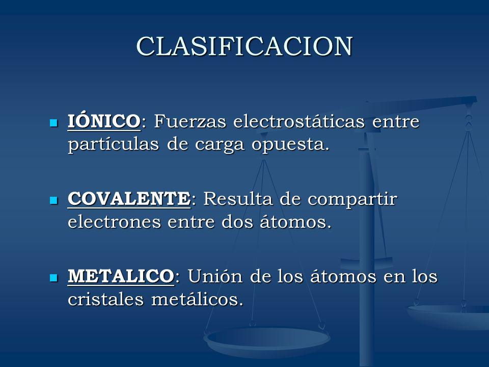 CLASIFICACION IÓNICO : Fuerzas electrostáticas entre partículas de carga opuesta. IÓNICO : Fuerzas electrostáticas entre partículas de carga opuesta.