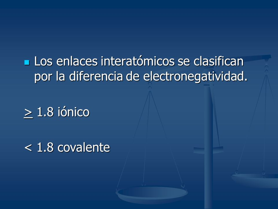 Los enlaces interatómicos se clasifican por la diferencia de electronegatividad. Los enlaces interatómicos se clasifican por la diferencia de electron