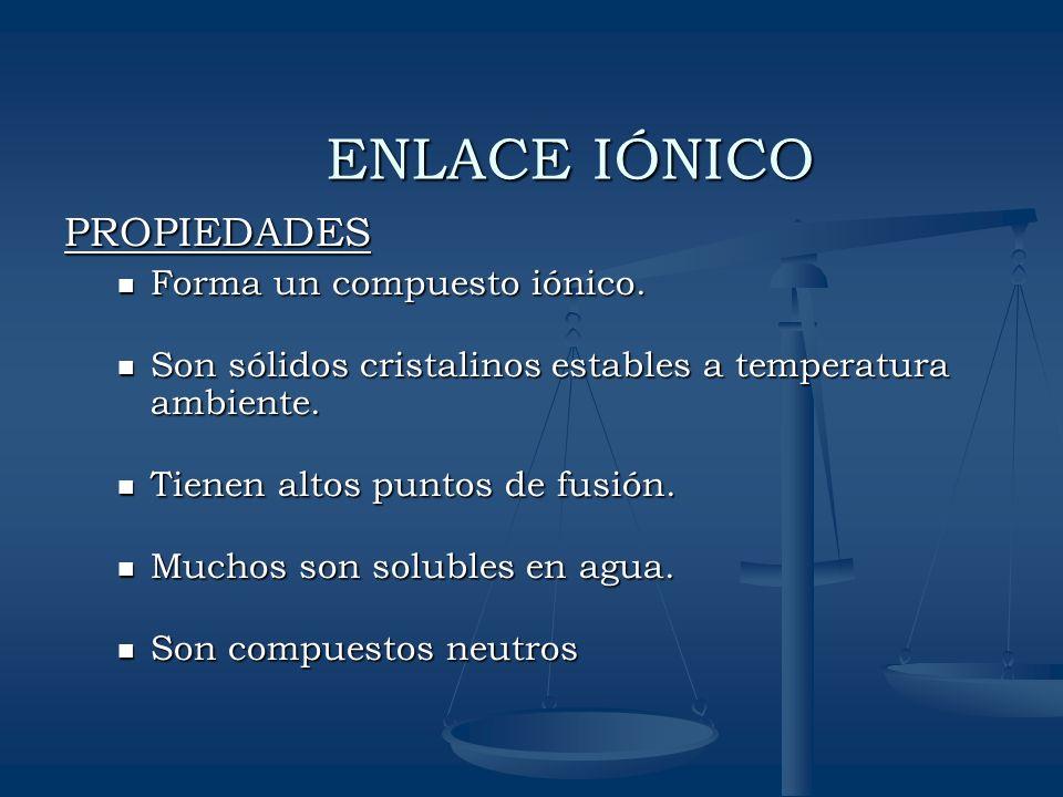 ENLACE IÓNICO PROPIEDADES Forma un compuesto iónico. Forma un compuesto iónico. Son sólidos cristalinos estables a temperatura ambiente. Son sólidos c
