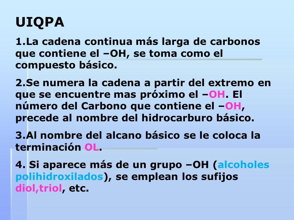UIQPA 1.La cadena continua más larga de carbonos que contiene el –OH, se toma como el compuesto básico. 2.Se numera la cadena a partir del extremo en