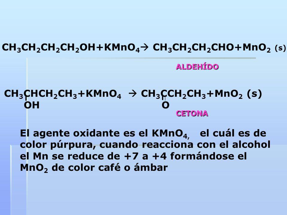 CH 3 CH 2 CH 2 CH 2 OH+KMnO 4 CH 3 CH 2 CH 2 CHO+MnO 2 (s) CH 3 CHCH 2 CH 3 +KMnO 4 CH 3 CCH 2 CH 3 +MnO 2 (s) OH O El agente oxidante es el KMnO 4, e