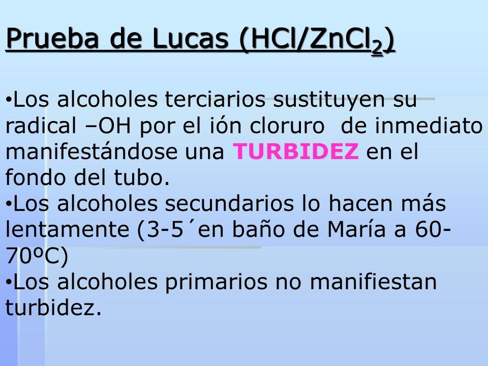 Prueba de Lucas (HCl/ZnCl 2 ) Los alcoholes terciarios sustituyen su radical –OH por el ión cloruro de inmediato manifestándose una TURBIDEZ en el fon