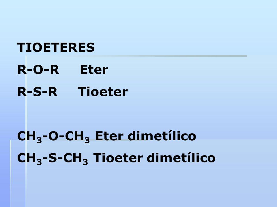 TIOETERES R-O-R Eter R-S-R Tioeter CH 3 -O-CH 3 Eter dimetílico CH 3 -S-CH 3 Tioeter dimetílico