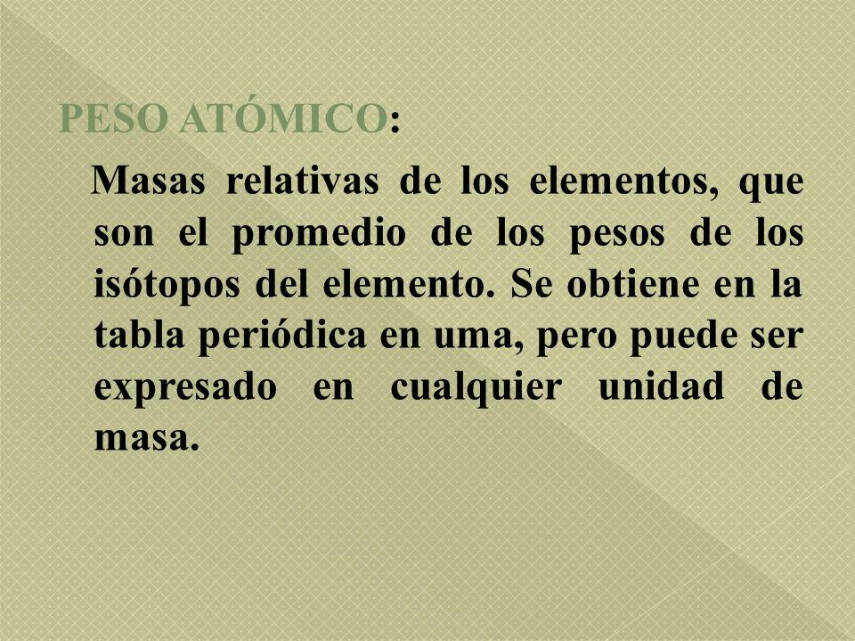 PESO ATÓMICO: Masas relativas de los elementos, que son el promedio de los pesos de los isótopos del elemento.