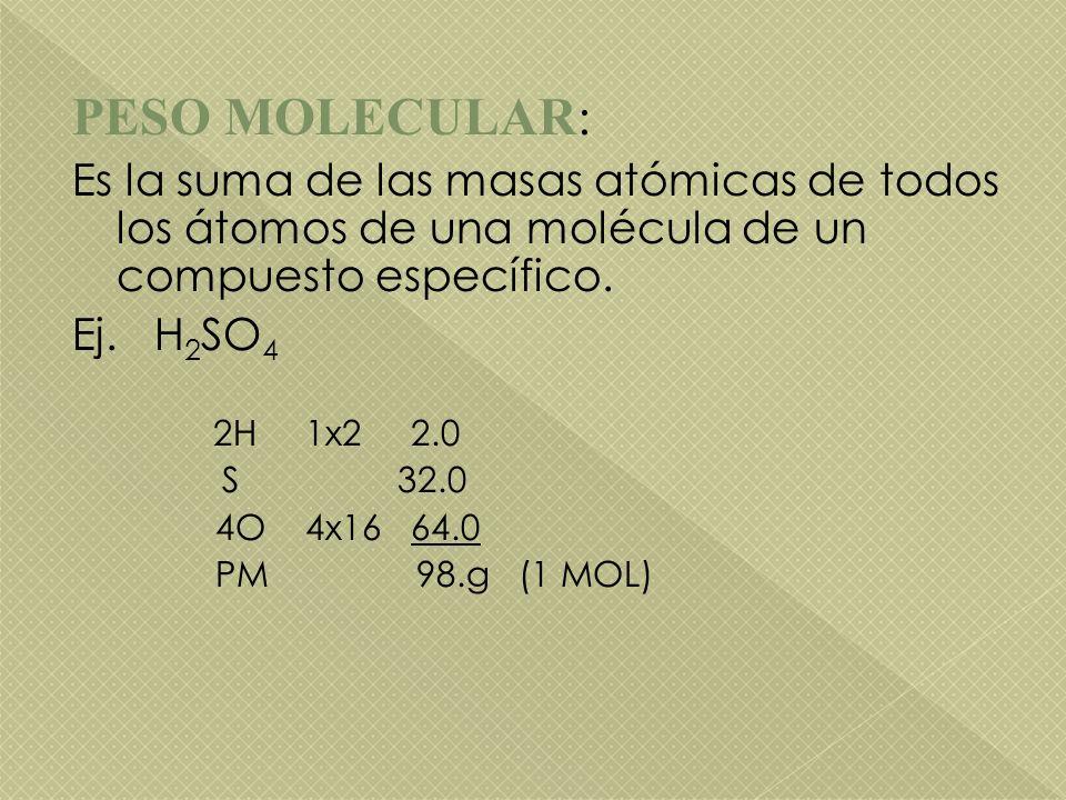 PESO MOLECULAR: Es la suma de las masas atómicas de todos los átomos de una molécula de un compuesto específico. Ej. H 2 SO 4 2H 1x2 2.0 S 32.0 4O 4x1