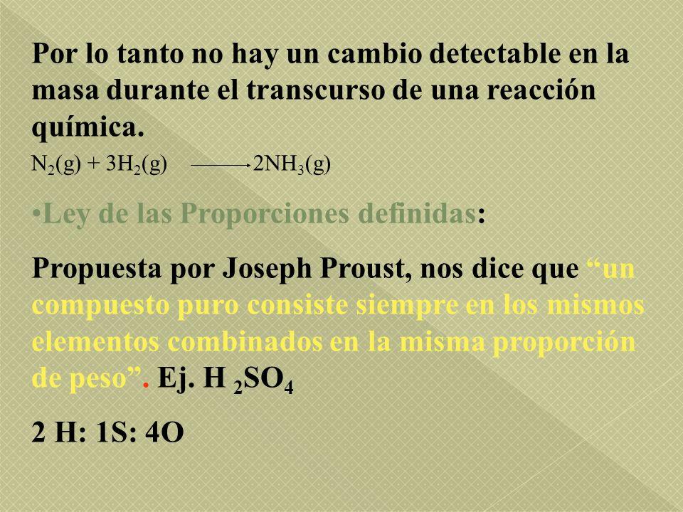 Por lo tanto no hay un cambio detectable en la masa durante el transcurso de una reacción química. N 2 (g) + 3H 2 (g) 2NH 3 (g) Ley de las Proporcione