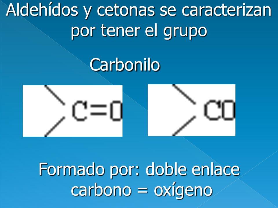 Aldehídos y cetonas se caracterizan por tener el grupo Carbonilo Carbonilo Formado por: doble enlace carbono = oxígeno carbono = oxígeno