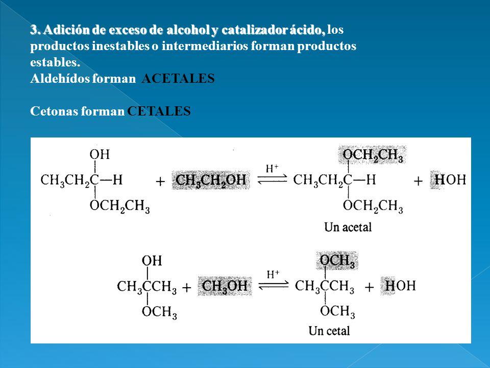 3. Adición de exceso de alcohol y catalizador ácido, 3. Adición de exceso de alcohol y catalizador ácido, los productos inestables o intermediarios fo