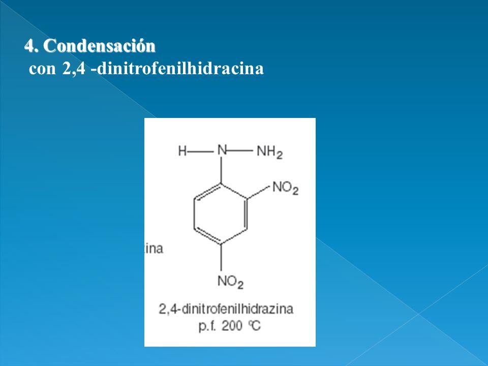 4. Condensación con 2,4 -dinitrofenilhidracina