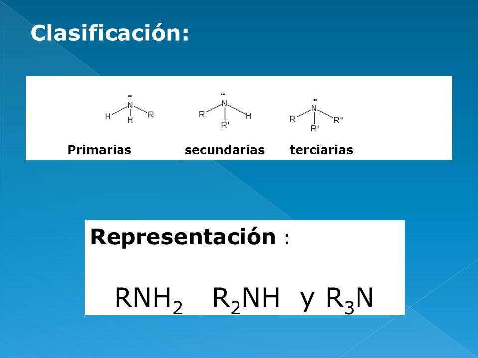 EstructuraNombre R-NH 2 Aminas primarias R-NH-R Aminas secundarias RNR R Aminas terciarias