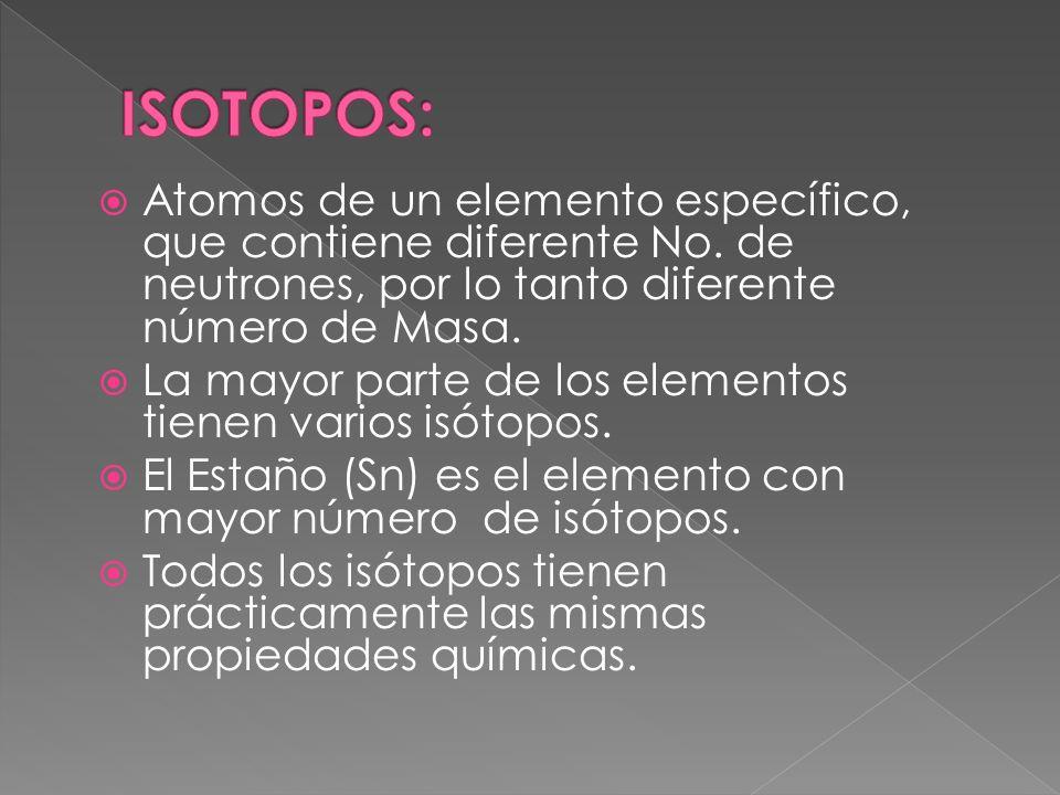 Atomos de un elemento específico, que contiene diferente No. de neutrones, por lo tanto diferente número de Masa. La mayor parte de los elementos tien
