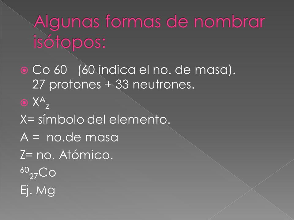 Co 60 (60 indica el no. de masa). 27 protones + 33 neutrones. X A z X= símbolo del elemento. A = no.de masa Z= no. Atómico. 60 27 Co Ej. Mg