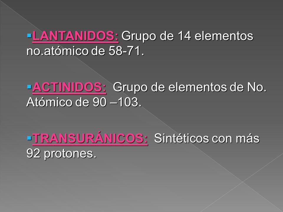 LANTANIDOS: Grupo de 14 elementos no.atómico de 58-71. LANTANIDOS: Grupo de 14 elementos no.atómico de 58-71. ACTINIDOS: Grupo de elementos de No. Ató