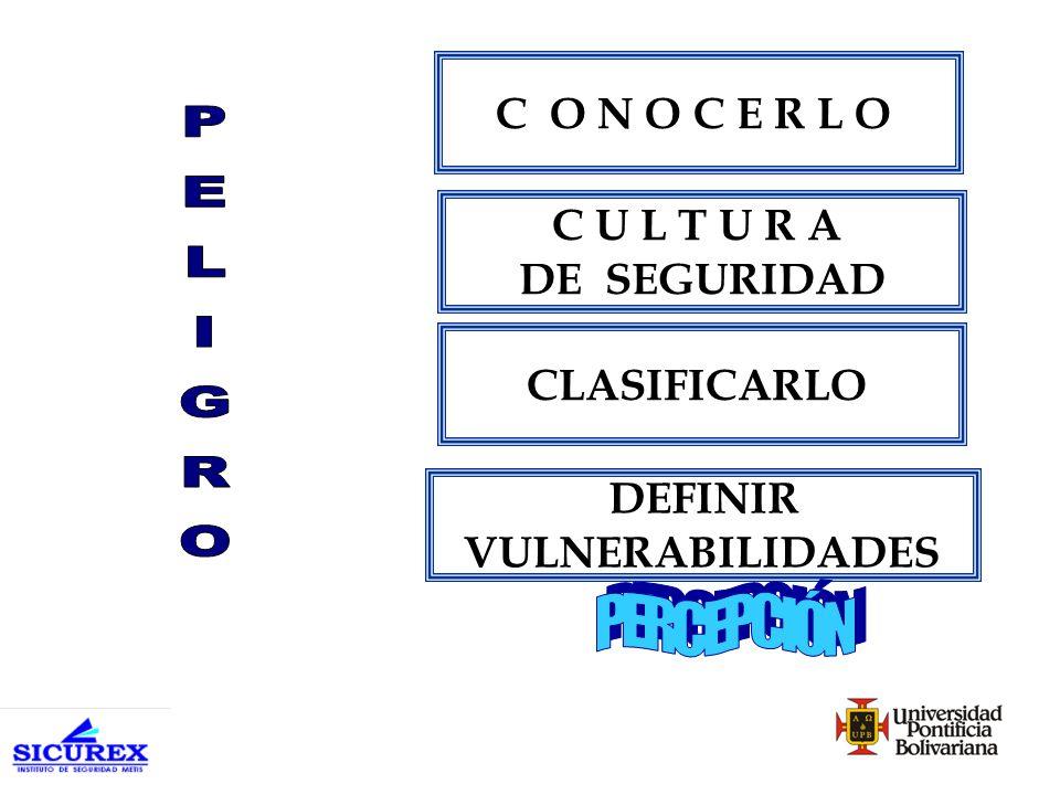 Peligro Riesgo Amenaza Daño Ataque Latencia Presencia Enfoque Agresión Consecuencia PERCEPCIÓN PERCEPCION + PREVENCIÓN PERCEPCIÓN +PREVENCIÓN +PROTECCIÓN PRESERVACIÓN PROTECCIÓN PREVENCIÓN PERCEPCIÓN PERCEPCIÓN + PREVENCIÓN + PROTECCIÓN + RESERVACIÓN ESCALERA DE LA INSEGURIDAD