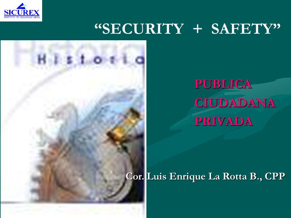 SECURITY + SAFETY PUBLICACIUDADANAPRIVADA Cor. Luis Enrique La Rotta B., CPP