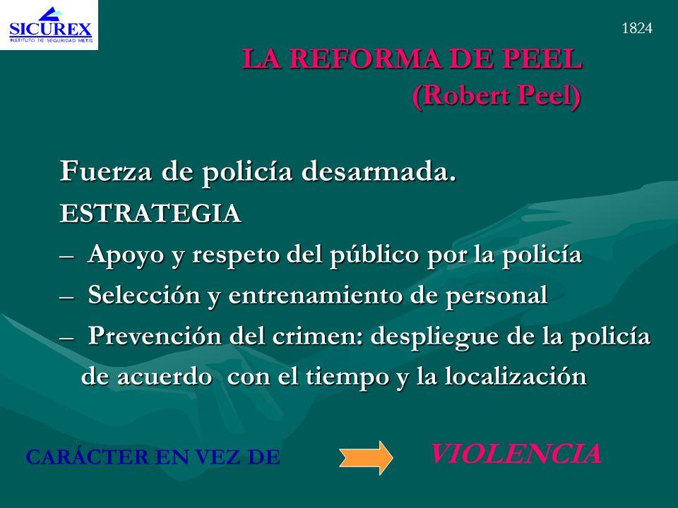 LA REFORMA DE PEEL (Robert Peel) Fuerza de policía desarmada. ESTRATEGIA –Apoyo y respeto del público por la policía –Selección y entrenamiento de per