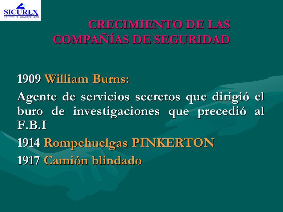 CRECIMIENTO DE LAS COMPAÑÍAS DE SEGURIDAD 1909 William Burns: Agente de servicios secretos que dirigió el buro de investigaciones que precedió al F.B.