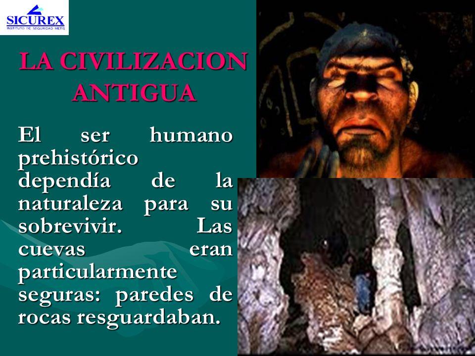 LA CIVILIZACION ANTIGUA El ser humano prehistórico dependía de la naturaleza para su sobrevivir. Las cuevas eran particularmente seguras: paredes de r