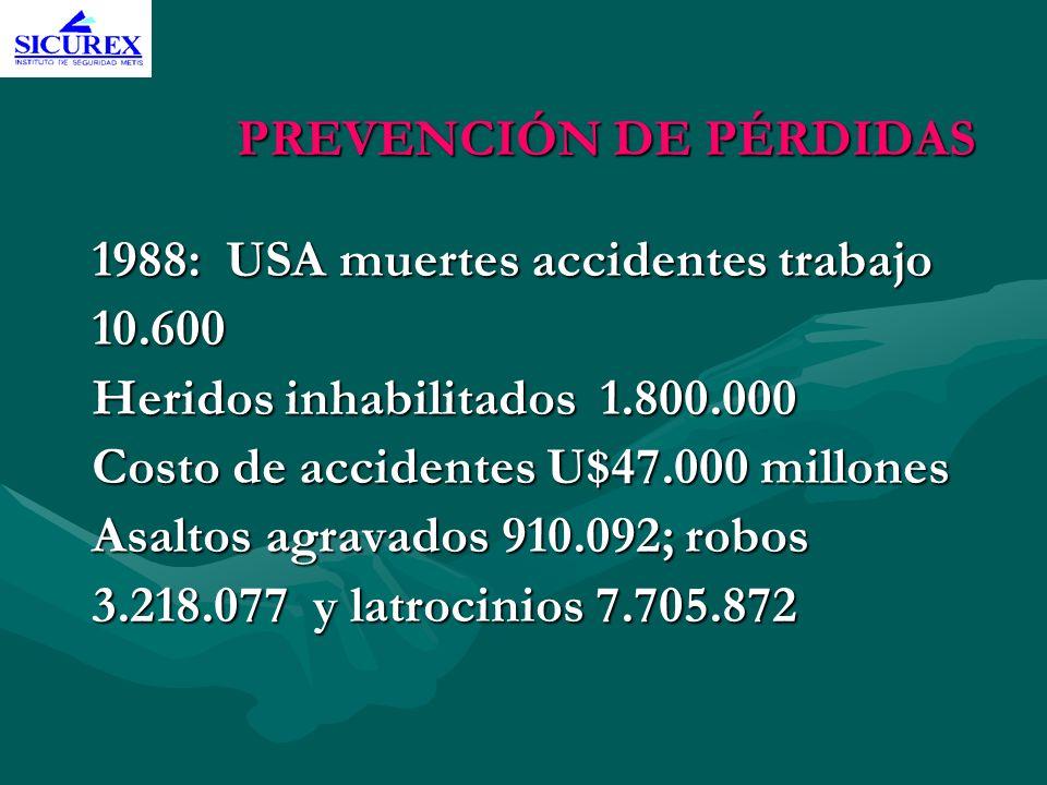 PREVENCIÓN DE PÉRDIDAS 1988: USA muertes accidentes trabajo 10.600 10.600 Heridos inhabilitados 1.800.000 Costo de accidentes U$47.000 millones Asalto