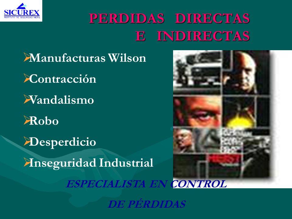 PERDIDAS DIRECTAS E INDIRECTAS Manufacturas Wilson Contracción Vandalismo Robo Desperdicio Inseguridad Industrial ESPECIALISTA EN CONTROL DE PÉRDIDAS