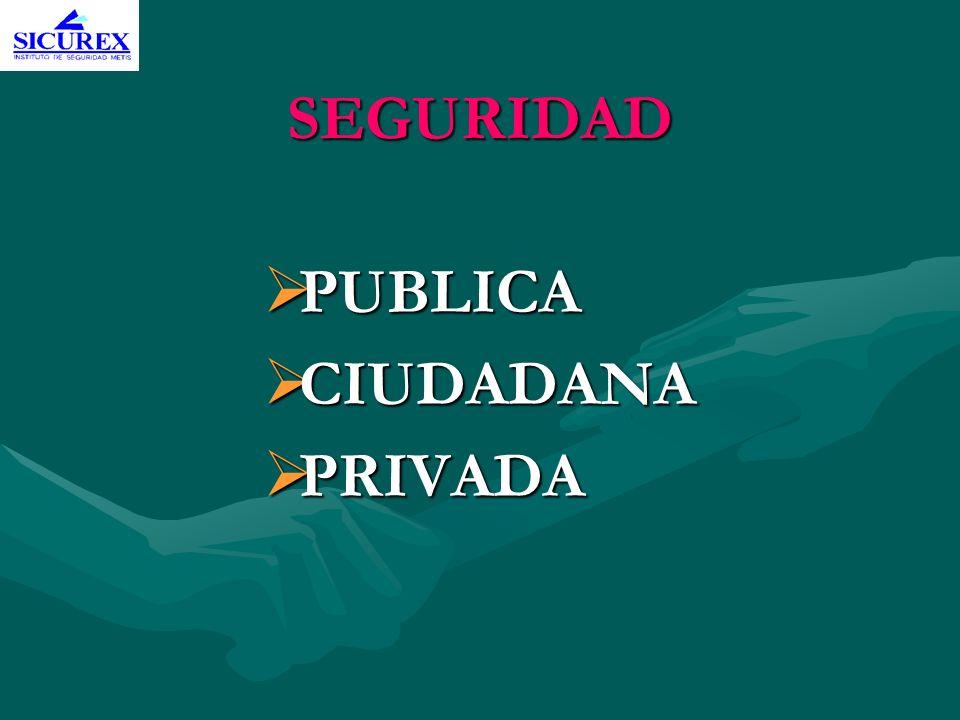 SEGURIDAD PUBLICA PUBLICA CIUDADANA CIUDADANA PRIVADA PRIVADA