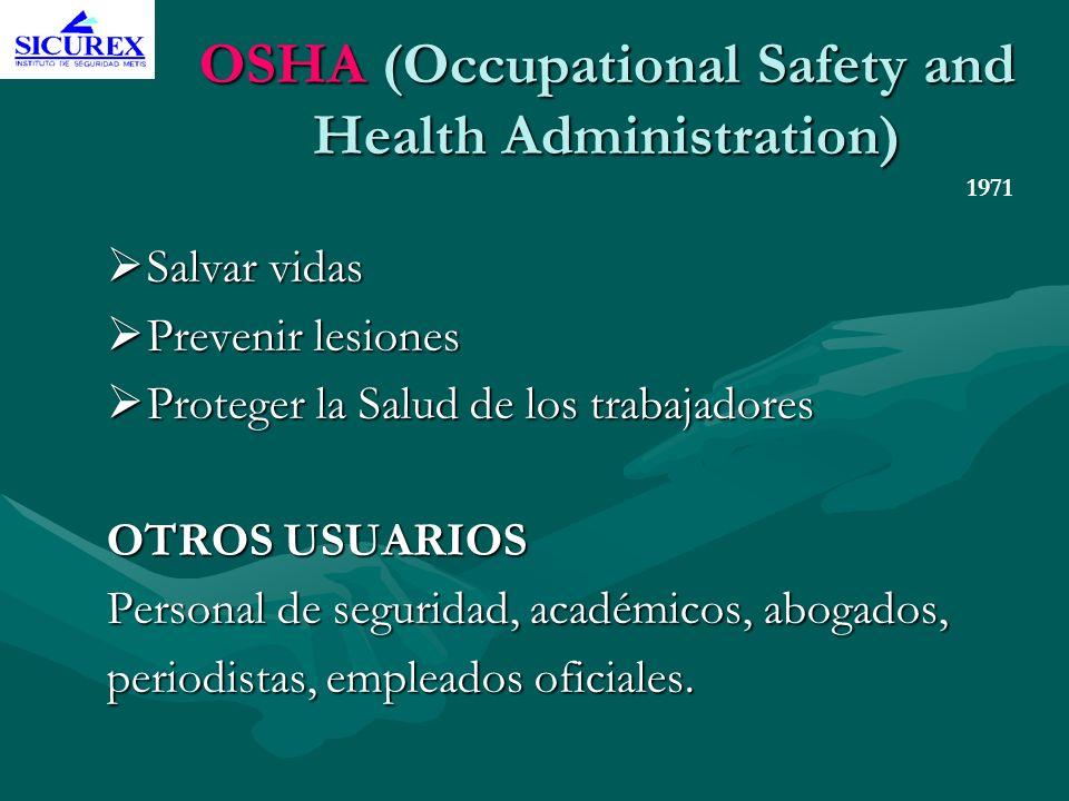 OSHA (Occupational Safety and Health Administration) Salvar vidas Salvar vidas Prevenir lesiones Prevenir lesiones Proteger la Salud de los trabajador