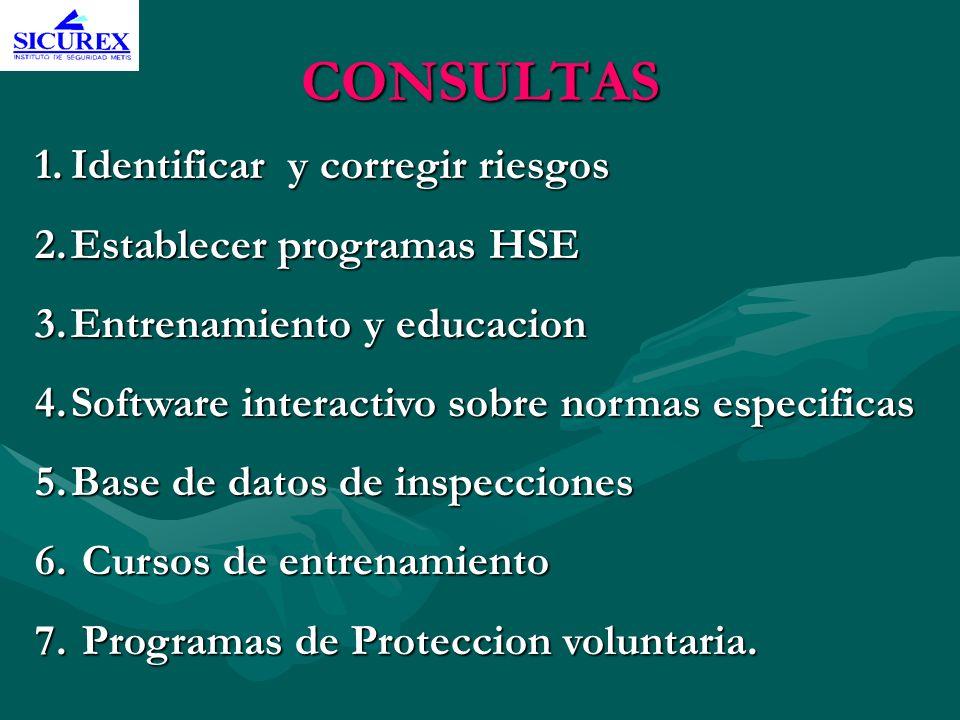 CONSULTAS 1.Identificar y corregir riesgos 2.Establecer programas HSE 3.Entrenamiento y educacion 4.Software interactivo sobre normas especificas 5.Ba