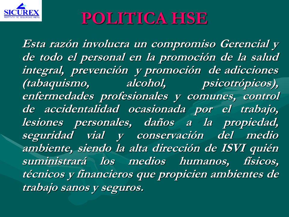 POLITICA HSE Esta razón involucra un compromiso Gerencial y de todo el personal en la promoción de la salud integral, prevención y promoción de adicci