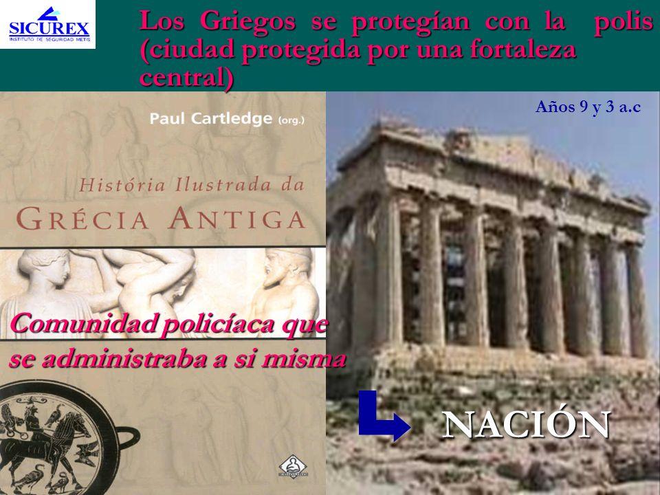 Los Griegos se protegían con la polis (ciudad protegida por una fortaleza central) Comunidad policíaca que se administraba a si misma Años 9 y 3 a.c N
