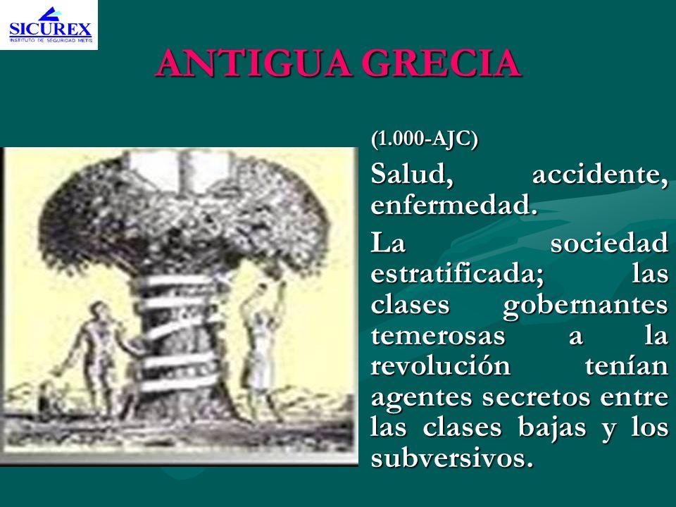 ANTIGUA GRECIA (1.000-AJC) Salud, accidente, enfermedad. La sociedad estratificada; las clases gobernantes temerosas a la revolución tenían agentes se
