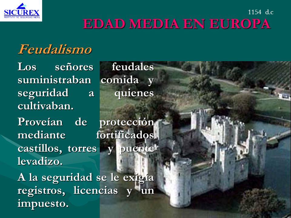 EDAD MEDIA EN EUROPA Feudalismo Los señores feudales suministraban comida y seguridad a quienes cultivaban. Proveían de protección mediante fortificad