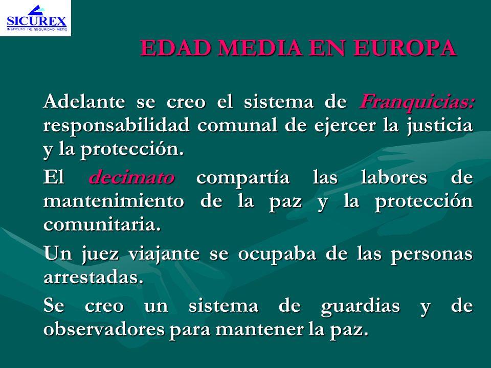 EDAD MEDIA EN EUROPA Adelante se creo el sistema de Franquicias: responsabilidad comunal de ejercer la justicia y la protección. El decimato compartía