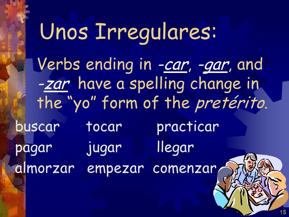 15 Verbs ending in -car, -gar, and -zar have a spelling change in the yo form of the pretérito.
