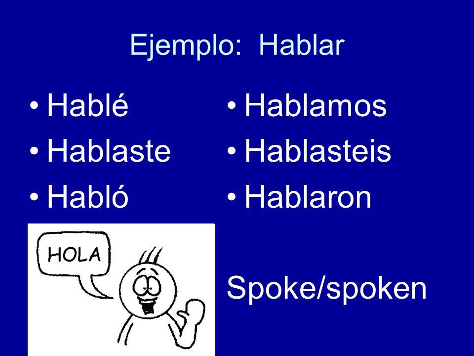 Ejemplo: Hablar Hablé Hablaste Habló Hablamos Hablasteis Hablaron Spoke/spoken