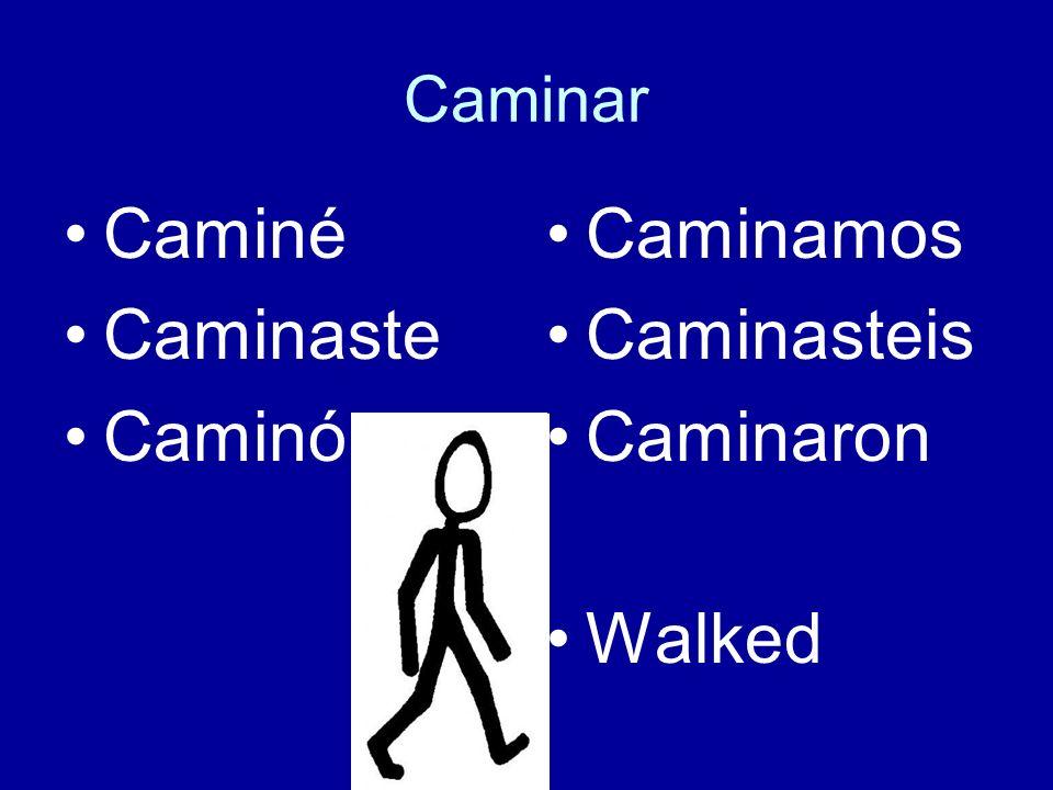 Caminar Caminé Caminaste Caminó Caminamos Caminasteis Caminaron Walked