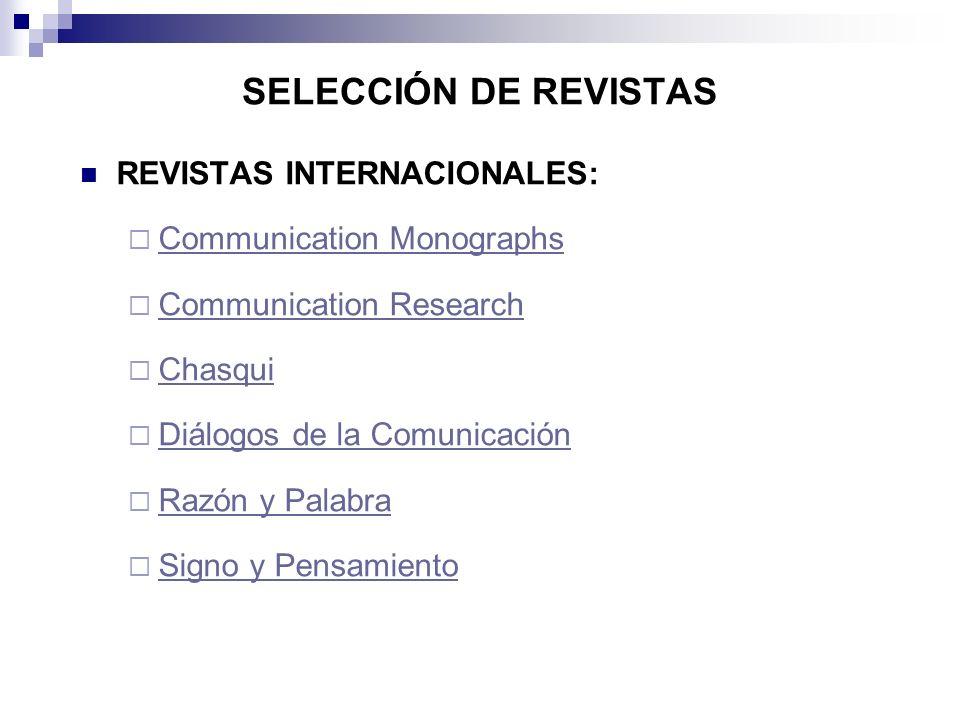 SELECCIÓN DE REVISTAS REVISTAS INTERNACIONALES: Communication Monographs Communication Research Chasqui Diálogos de la Comunicación Razón y Palabra Si