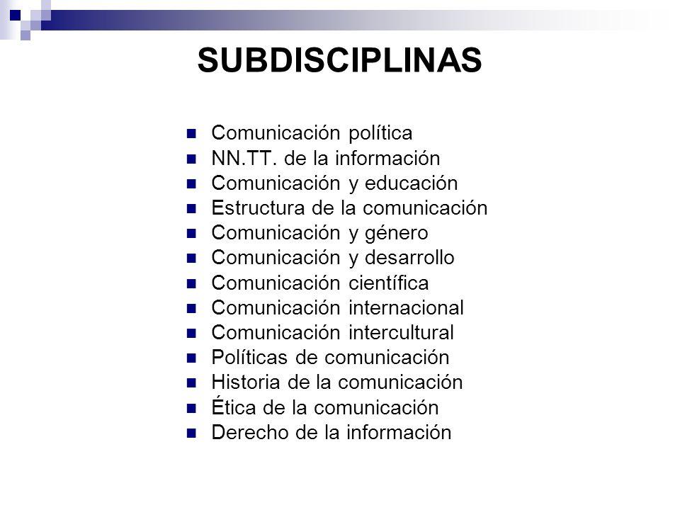 SUBDISCIPLINAS Comunicación política NN.TT. de la información Comunicación y educación Estructura de la comunicación Comunicación y género Comunicació