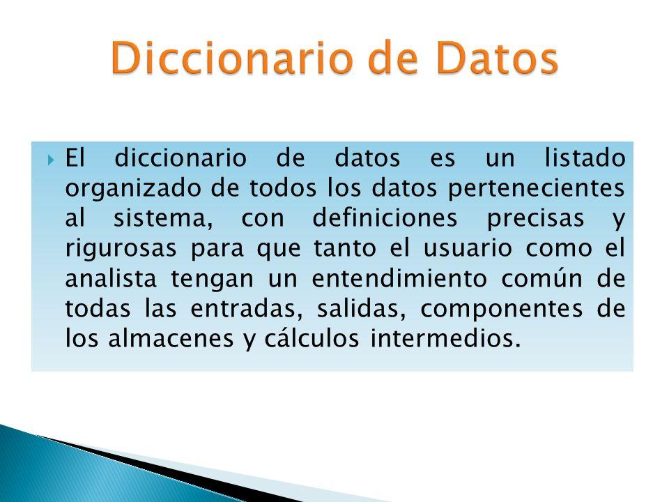 El diccionario de datos es un listado organizado de todos los datos pertenecientes al sistema, con definiciones precisas y rigurosas para que tanto el