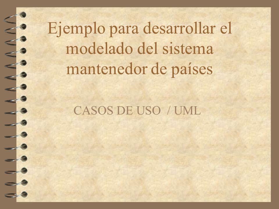 Ejemplo para desarrollar el modelado del sistema mantenedor de países CASOS DE USO / UML