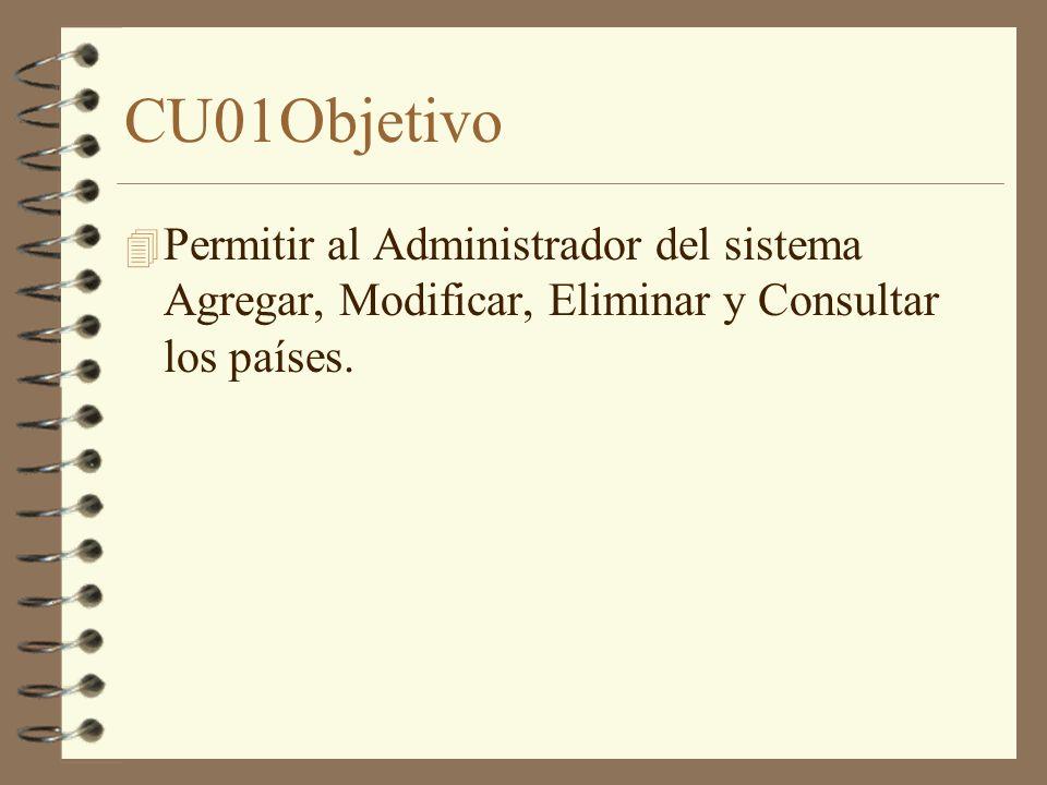 CU01Objetivo 4 Permitir al Administrador del sistema Agregar, Modificar, Eliminar y Consultar los países.
