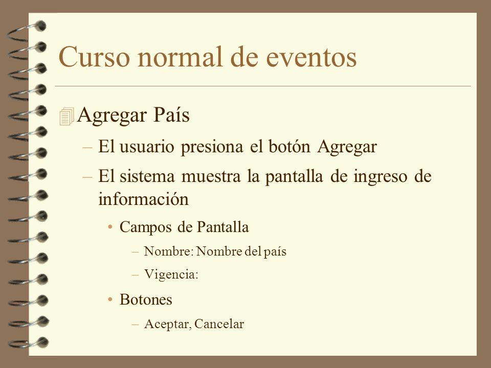 Curso normal de eventos 4 Agregar País –El usuario presiona el botón Agregar –El sistema muestra la pantalla de ingreso de información Campos de Panta