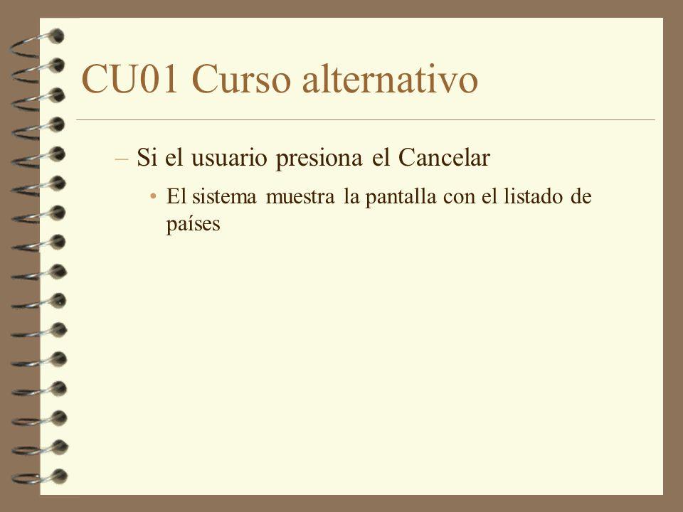 CU01 Curso alternativo –Si el usuario presiona el Cancelar El sistema muestra la pantalla con el listado de países