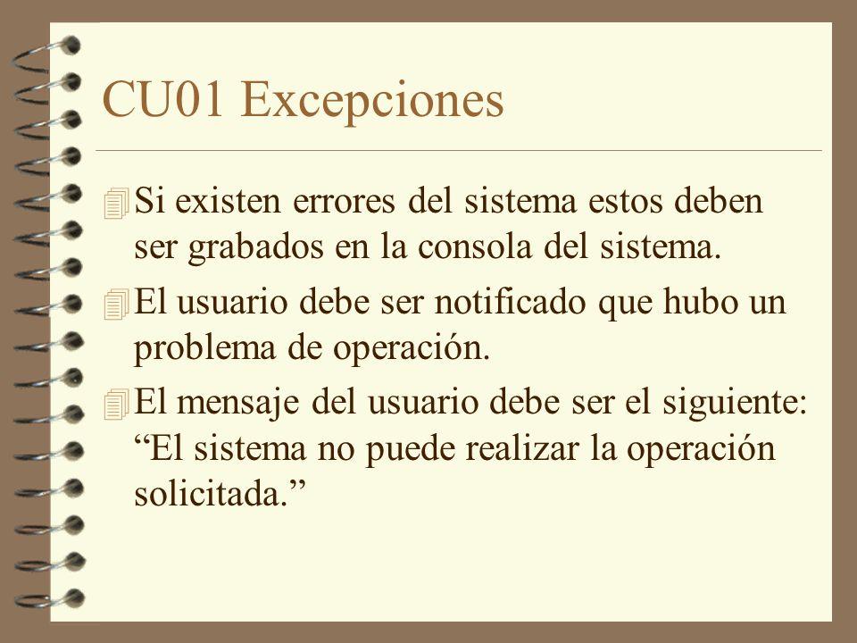 CU01 Excepciones 4 Si existen errores del sistema estos deben ser grabados en la consola del sistema. 4 El usuario debe ser notificado que hubo un pro
