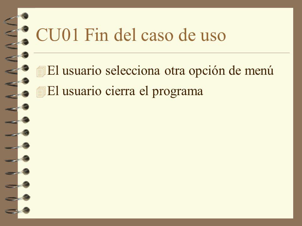 CU01 Fin del caso de uso 4 El usuario selecciona otra opción de menú 4 El usuario cierra el programa